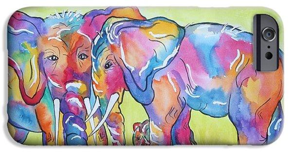 Elephants iPhone Cases - The Protectors iPhone Case by Ellen Levinson