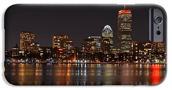 Boston Ma iPhone Cases - The Pru lit up in Red iPhone Case by Toby McGuire