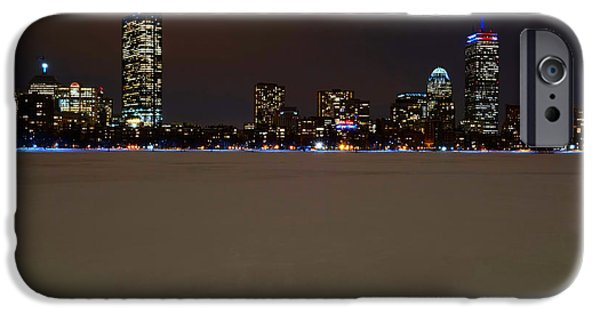 Boston Ma iPhone Cases - The Pru lit up in red white and blue for the Patriots iPhone Case by Toby McGuire