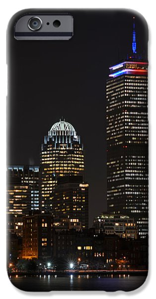 Oxford. Oxford Ma. Massachusetts iPhone Cases - The Prudential lit up in red white and blue iPhone Case by Toby McGuire
