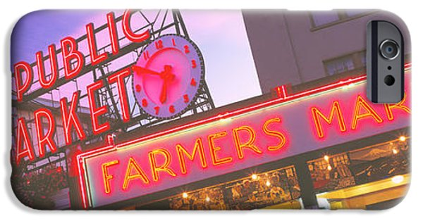 Clock Shop iPhone Cases - The Public Market Seattle Wa Usa iPhone Case by Panoramic Images