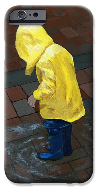 Rainy Day iPhone Cases - The Puddle Jumper iPhone Case by Karyn Robinson