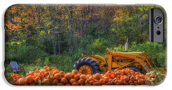 New England Autumn Scenes iPhone Cases - The Pumpkin Patch iPhone Case by Joann Vitali
