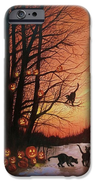 Jack O Lantern iPhone Cases - The Pumpkin Tree iPhone Case by Tom Shropshire