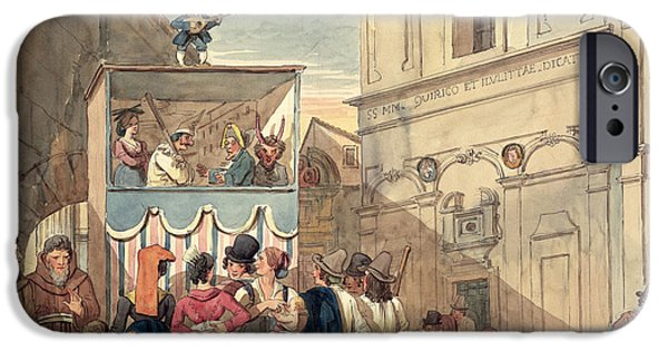 Puppets iPhone Cases - The Puppet Theatre Wc On Paper iPhone Case by Achille Pinelli