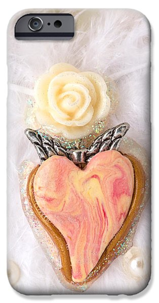 Rose Reliefs iPhone Cases - The pure rose angel heart iPhone Case by Heidi Sieber