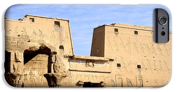 Hathor iPhone Cases - The Pylons of Edfu Temple iPhone Case by Brenda Kean
