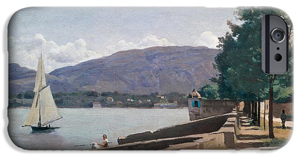 Swiss Paintings iPhone Cases - The Quai des Paquis in Geneva iPhone Case by Jean Baptiste Camille Corot