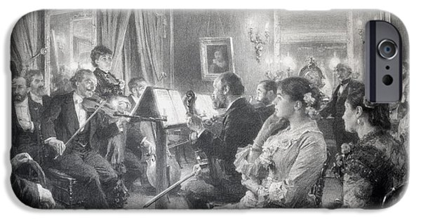 Artist Photographs iPhone Cases - The Quartet Or The Musical Evening At The House Of Amaury Duval, 1881 Charcoal On Paper iPhone Case by Leon Augustin Lhermitte
