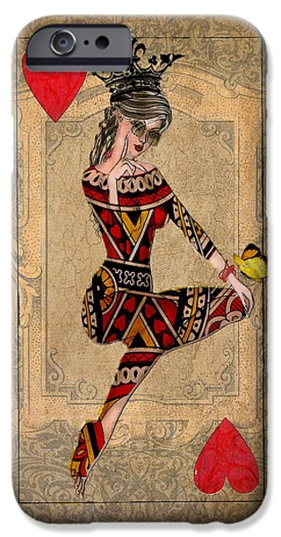 Graphic Design iPhone Cases - The Queen of Hearts iPhone Case by Terry Fleckney