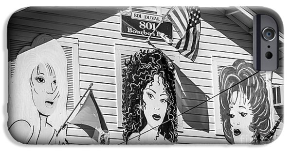 Drag iPhone Cases - The Queens - 801 Bourbon Bar - Key West - Black and White iPhone Case by Ian Monk