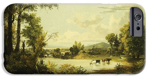Hudson River iPhone Cases - The Quiet Valley iPhone Case by Jasper Francis Cropsey