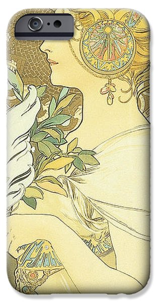 Art Nouveau Flower iPhone Cases - The Quill iPhone Case by Alphonse Marie Mucha