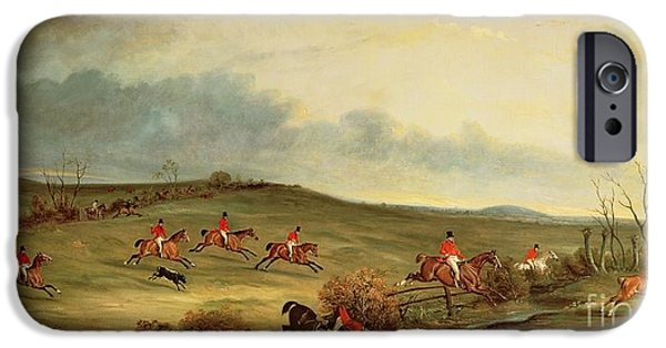 Courage iPhone Cases - The Quorn in full cry near Tiptoe Hill iPhone Case by John E Ferneley