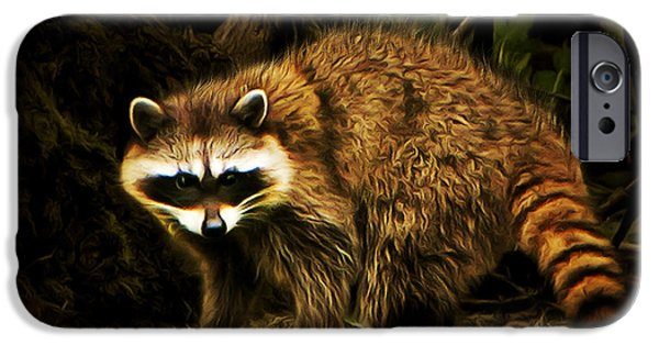 Raccoon Digital Art iPhone Cases - The Raccoon 20150211brun iPhone Case by Wingsdomain Art and Photography