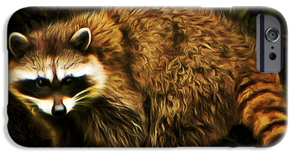 Raccoon Digital Art iPhone Cases - The Raccoon 20150215brun square iPhone Case by Wingsdomain Art and Photography