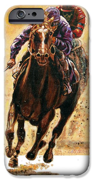Horse Racing iPhone Cases - The Race iPhone Case by John Lautermilch