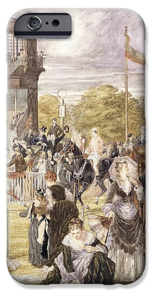 The Races at Longchamp in 1874 iPhone Case by Pierre Gavarni