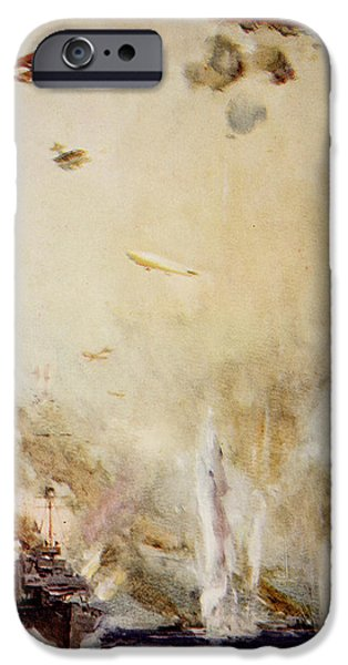 World War One Paintings iPhone Cases - The Raid on Cuxhaven iPhone Case by Cyrus Cuneo