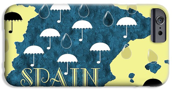 Abstract Digital Mixed Media iPhone Cases - The Rain In Spain iPhone Case by Andee Design