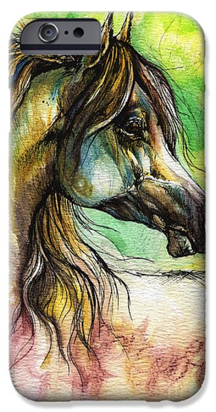 Watercolor iPhone Cases - The Rainbow Colored Arabian Horse iPhone Case by Angel  Tarantella