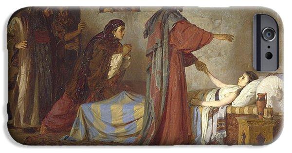 Bible iPhone Cases - The Raising of Jairus daughter iPhone Case by Vasilij Dmitrievich Polenov