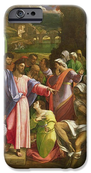 Miracle Photographs iPhone Cases - The Raising Of Lazarus, C.1517-19 Oil On Canvas Transferred From Wood iPhone Case by Sebastiano del Piombo