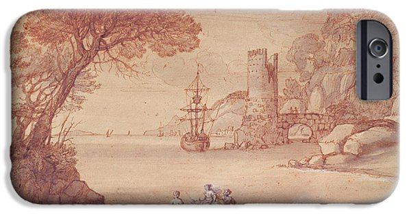 Zeus iPhone Cases - The Rape Of Europa, 1655 Pen, Ink & Wash iPhone Case by Claude Lorrain