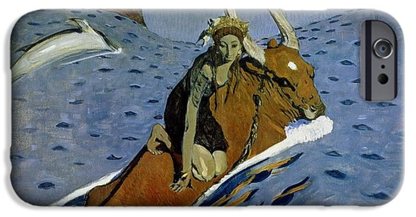 Swimming iPhone Cases - The Rape Of Europa, 1910 iPhone Case by Valentin Aleksandrovich Serov