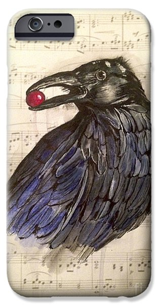 Sheets Drawings iPhone Cases - The Raven iPhone Case by Deborah Vicino