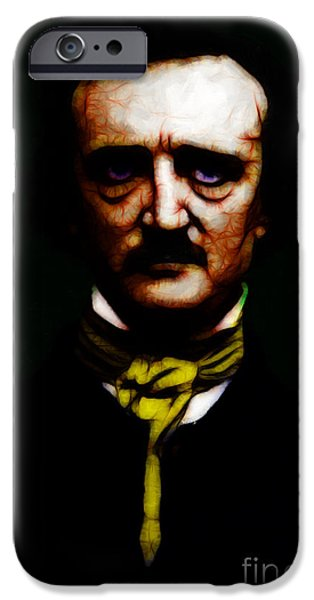 Strange iPhone Cases - The Raven - Edgar Allan Poe iPhone Case by Wingsdomain Art and Photography