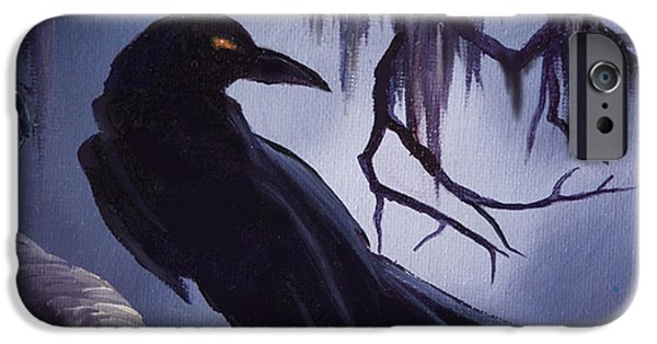 Cemetery Paintings iPhone Cases - The Raven iPhone Case by James Christopher Hill