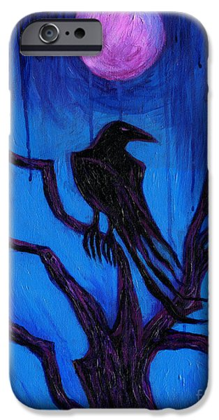 Night Angel iPhone Cases - The Raven Nevermore iPhone Case by Roz Abellera Art