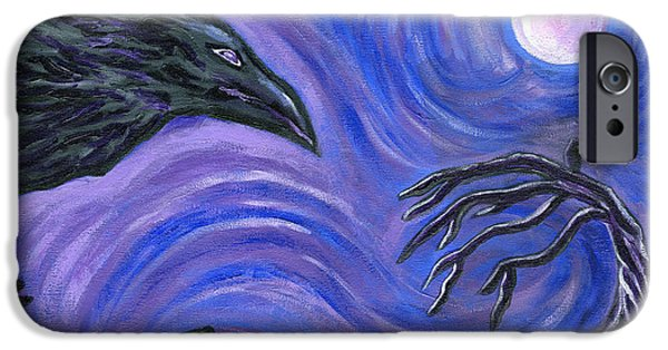 Night Angel iPhone Cases - The Raven iPhone Case by Roz Abellera Art