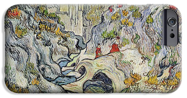 Exploring Paintings iPhone Cases - The ravine of the Peyroulets iPhone Case by Vincent van Gogh