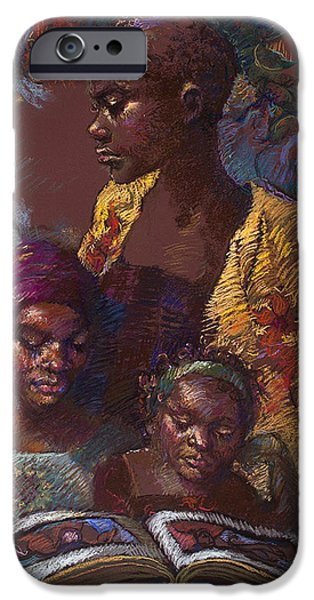 African-american Pastels iPhone Cases - The Readers iPhone Case by Ellen Dreibelbis