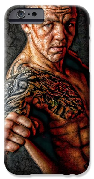 Cage Fighter Digital Art iPhone Cases - The Real Deal iPhone Case by John Lynch