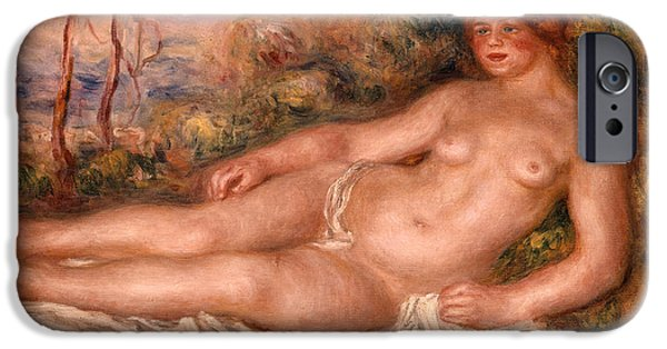 Renoir iPhone Cases - The Reclining Bather 1906 iPhone Case by Pierre Auguste Renoir
