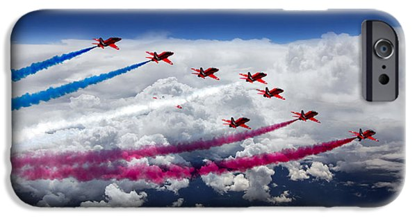 Red White And Blue Digital iPhone Cases - The Red Arrows Flight  iPhone Case by J Biggadike