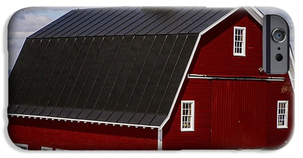 Farming Barns iPhone Cases - The Red Barn iPhone Case by Edward Fielding