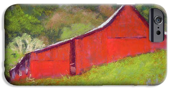 Barn Landscape Pastels iPhone Cases - The Red Barn iPhone Case by Elaine Koehler