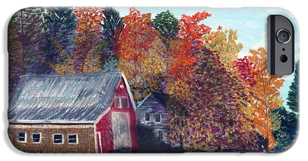 Barns Pastels iPhone Cases - The Red Barn iPhone Case by Francois Lamothe