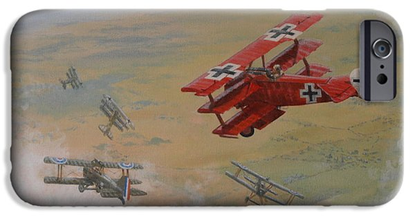Wwi iPhone Cases - The Red Baron iPhone Case by Elaine Jones