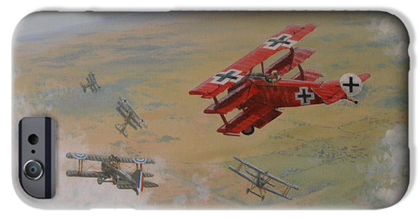 Wwi Paintings iPhone Cases - The Red Baron iPhone Case by Elaine Jones