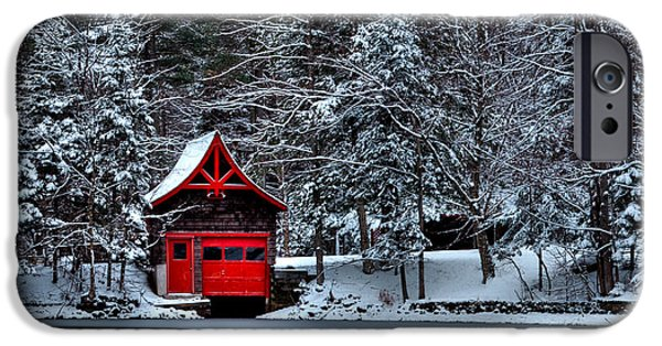 Snow Scene iPhone Cases - The Red Boathouse iPhone Case by David Patterson