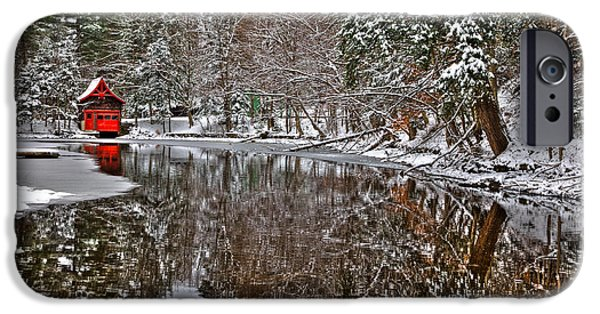 Snow Scene iPhone Cases - The Red Boathouse in Old Forge iPhone Case by David Patterson