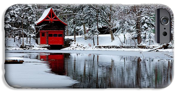 Snowy Brook iPhone Cases - The Red Boathouse in Winter iPhone Case by David Patterson