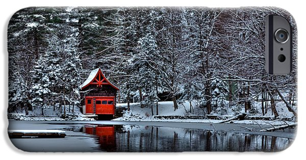 Snowy Brook iPhone Cases - The Red Boathouse - Old Forge NY iPhone Case by David Patterson