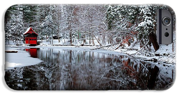Snow Scene iPhone Cases - Red Boathouse on Beaver Brook iPhone Case by David Patterson