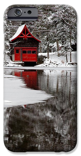 Snow Scene iPhone Cases - The Red Boathouse on Beaver Brook iPhone Case by David Patterson